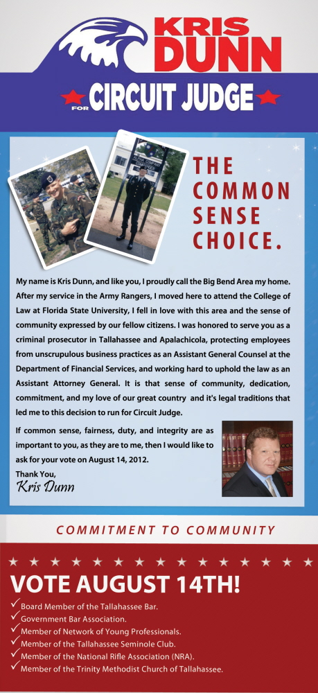 Kris Dunn For Judge' – Political Palm Card | Tallahassee Web ...